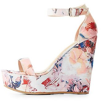 Bamboo Floral Two-Piece Wedge Sandals $32.99 thestylecure.com