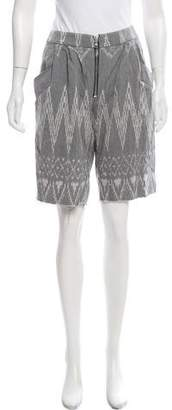 Baja East Patterned Zip-Up Shorts