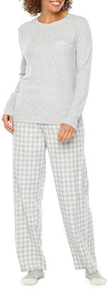 Liz Claiborne Knit Plaid Pant Pajama Set With Socks-Tall