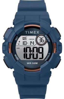 Timex Unisex Mako DGTL Digital 44mm Blue/Gold-Tone Watch, Silicone Strap
