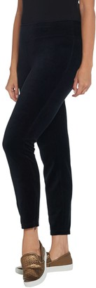Denim & Co. Active Stretch Velour Leggings with Zipper Detail