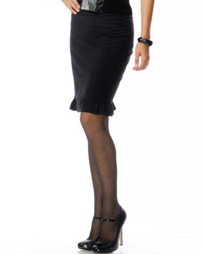 Bebe Matte Wool Pencil Skirt with Ruffle Trim