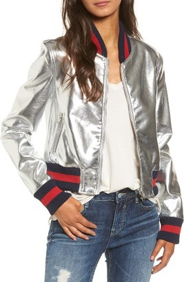 Women's Tinsel Metallic Faux Leather Bomber $59 thestylecure.com