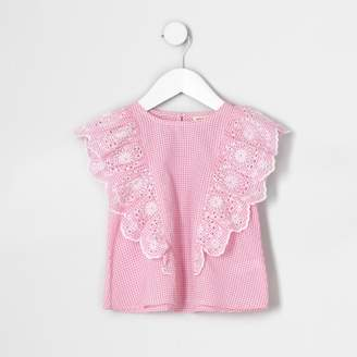 River Island Mini girls Red gingham broderie frill top