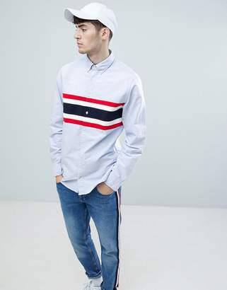 Tommy Hilfiger chest cut & sew stripe oxford shirt buttondown regular fit in blue