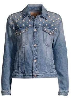 7 For All Mankind Faux Pearl Embellished Denim Jacket