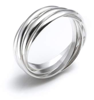 Silverly Women's .925 Sterling Silver 5 Band Interlocking Russian Wedding Ring