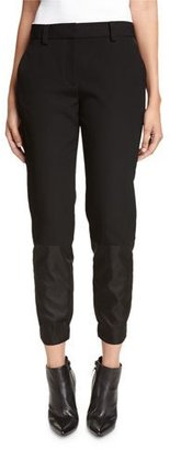 DKNY Mixed-Media Ankle Pants, Black $398 thestylecure.com