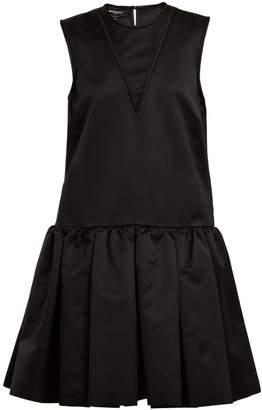Rochas Round-neck ruffled duchess-satin dress