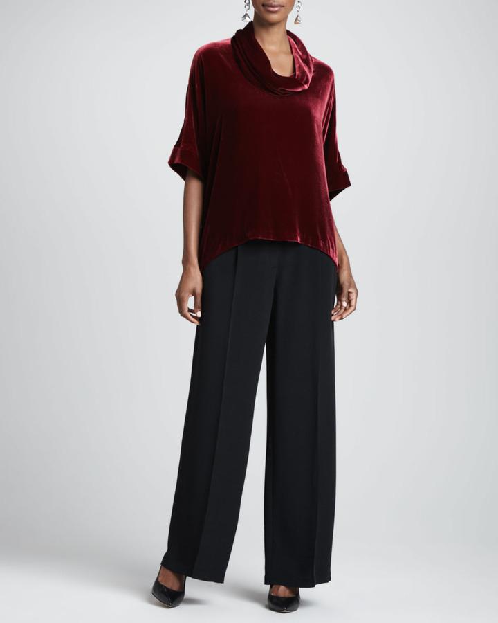 Eileen Fisher Crepe-de-Chine Wide-Leg Pants, Women's