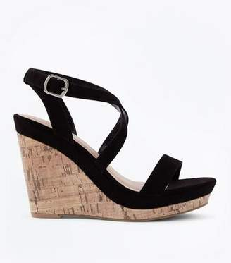 New Look Black Suedette Strappy Cork Wedges