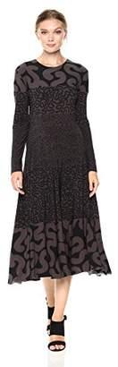 Norma Kamali Women's Long Sleeve Flaired Dress Spliced