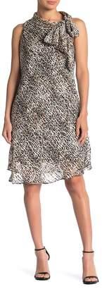 Robbie Bee Leopard Print Tie Neck Shift Dress