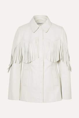 Ganni Angela Fringed Textured-leather Jacket - Off-white