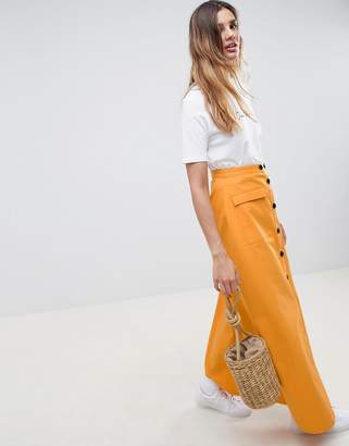 Asos DESIGN cotton twill maxi skirt with button front
