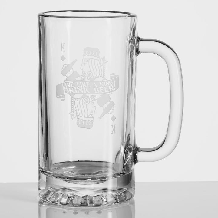 Drink Like a King Etched Beer Mugs, Set of 4