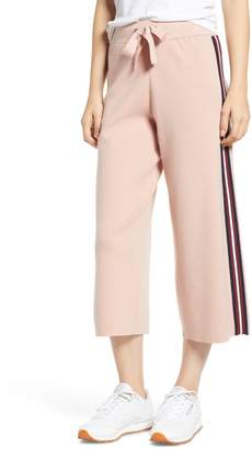 Noisy May Shea Side Stripe Wide Leg Crop Sweatpants