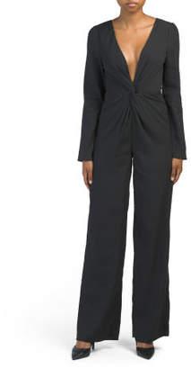 Long Sleeve Plunging Neckline Jumpsuit