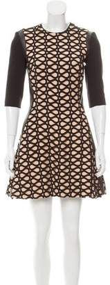 David Koma Leather-Trimmed Wool Dress