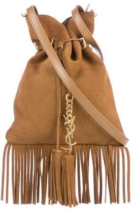 Saint Laurent Monogram Fringed Suede Bucket Bag