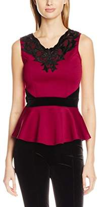 Jane Norman Women's Velvet Trim Peplum Vest Tops