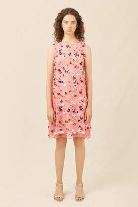 Mansur Gavriel Floral Embellished Mini Dress - Blush