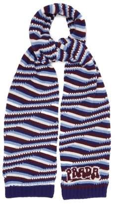 Prada Intarsia Logo Striped Cashmere Scarf - Womens - Blue