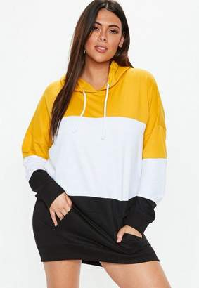 Missguided Plus Size Yellow Colourblock Sweater Dress