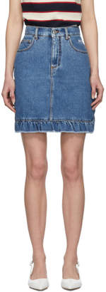 MSGM Blue Denim Ruffled Miniskirt