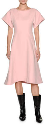 Marni Short-Sleeve Crepe A-Line Swing Dress, Light Pink