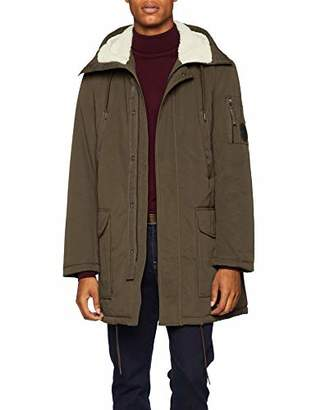 Armani Exchange A|X Men's Faux-Wool Hood Zip-Up Trenchcoat