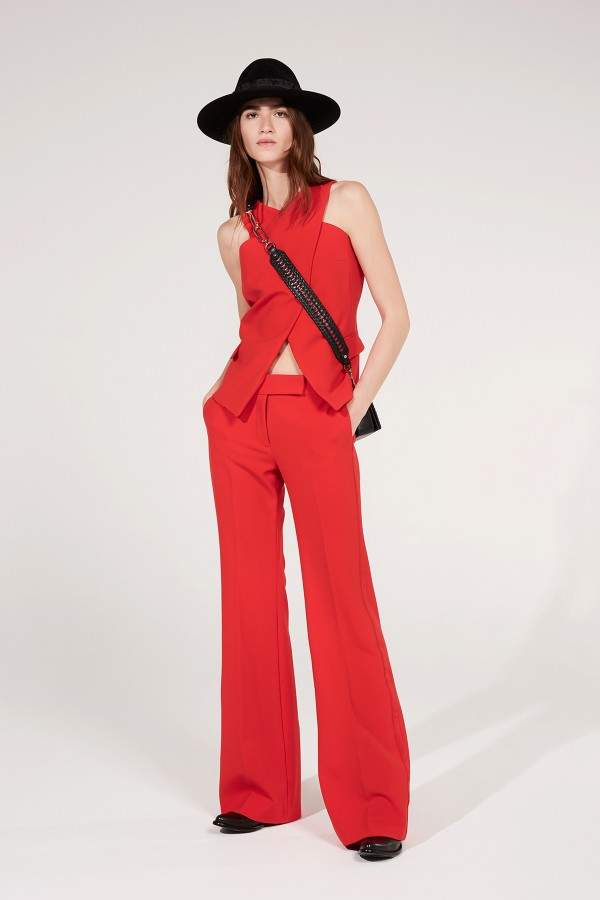 Amanda Wakeley Red Luxe Tailoring Flared Pant