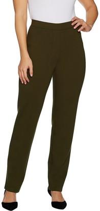 Susan Graver Petite Ponte Straight Leg Pull-On Pants