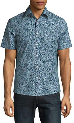 Michael Kors Short Sleeve Printed Button-Down Shirt