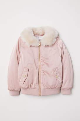 H&M Faux Fur-collar Bomber Jacket - Pink