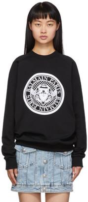 Balmain Black Flocked Medallion Sweatshirt