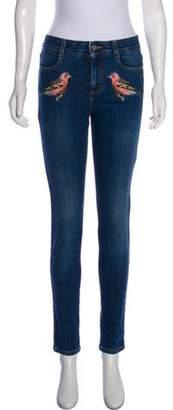 Stella McCartney Embroidered Mid-Rise Skinny Jeans blue Embroidered Mid-Rise Skinny Jeans