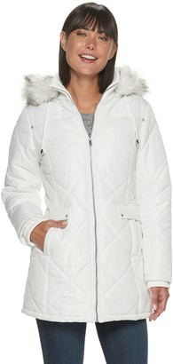Details Women's Hooded Diamond-Quilted Faux-Fur Trimmed Puffer Coat
