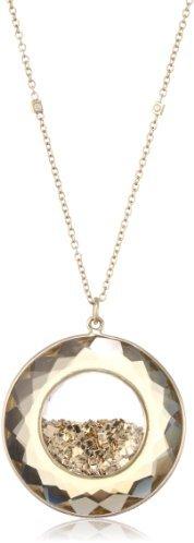 "Moritz Glik Kaleidoscope"" 18K Yellow Gold Champagne Quartz Floating Gold Pendant Necklace"