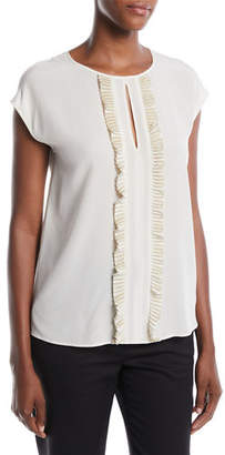 Escada Pleated Detail Round-Neck Silk Shell Blouse
