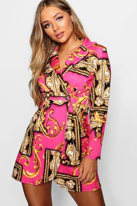 boohoo Scarf Print Blazer Dress
