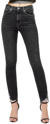 Topshop Jamie High Waist Ripped Hem Skinny Jeans