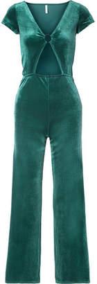 Solid & Striped Cutout Velvet Jumpsuit - Emerald
