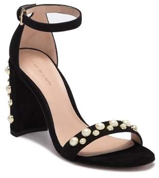 Stuart Weitzman More Pearls Block Heel Suede Sandal