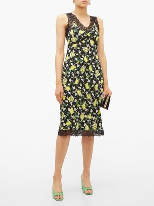Diane von Furstenberg Issey Lemon Print Lace Trim Silk Dress - Womens - Black Multi