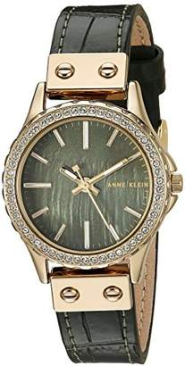 Anne Klein Women's AK/3250GMGN Swarovski Crystal Accented Gold-Tone and Green Leather Strap Watch