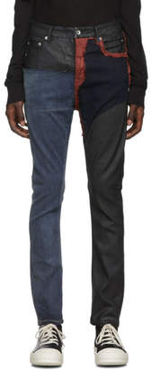 Rick Owens Blue and Red Detroit Cut Jeans