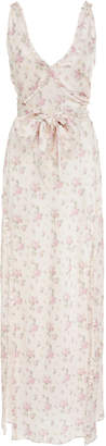 LoveShackFancy Kendall Bow-Tie Detailed Floral-Print Silk Dress