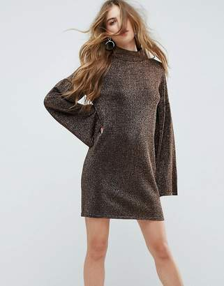 Asos Design Knitted Dress in Metallic with Wide Sleeves