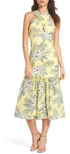 Sarafina Printed Eyelet Halter Dress